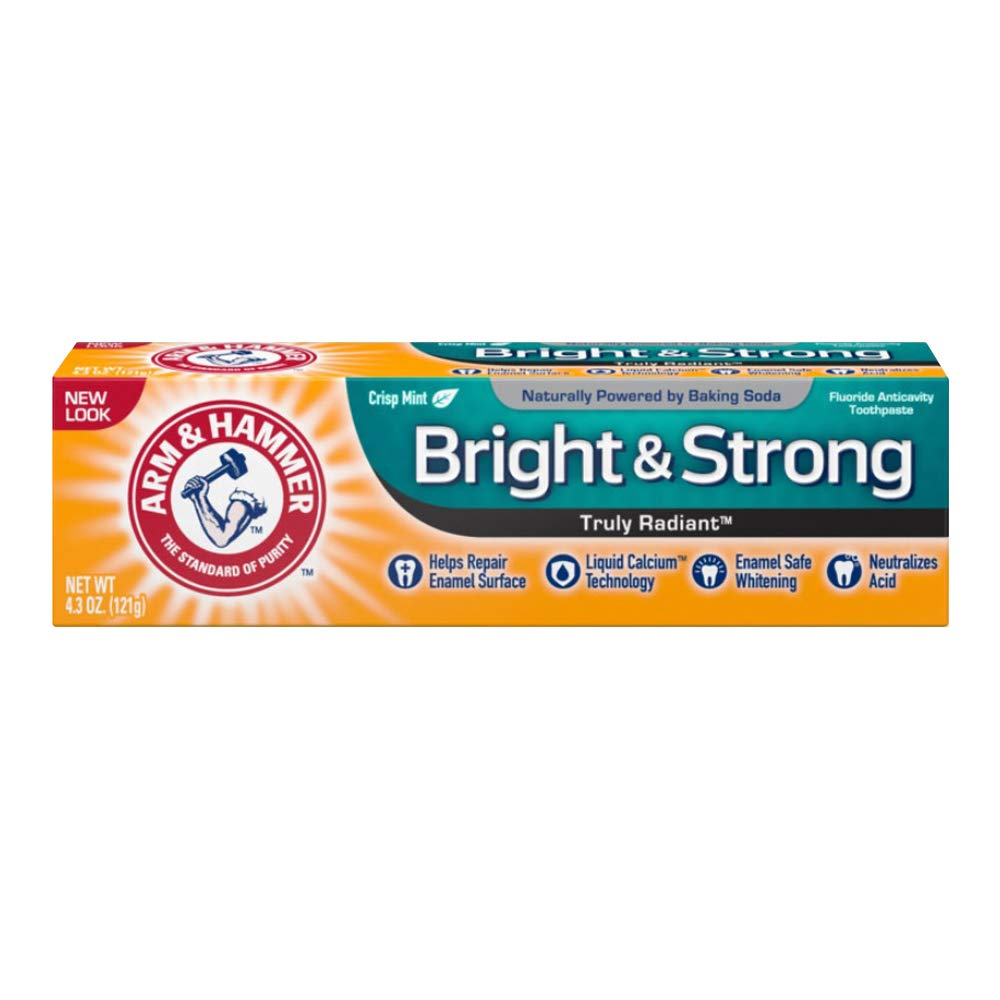 ARM & HAMMER Truly Radiant Bright & Strong Fluoride Anticavity Toothpaste Fresh Mint 4.3 oz (Packs of 4)