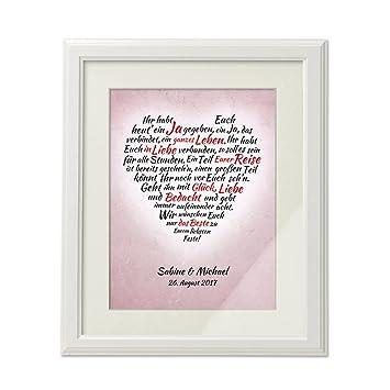 Amazon De Bild Herz Aus Worten Zur Hochzeit Personalisiert Mit