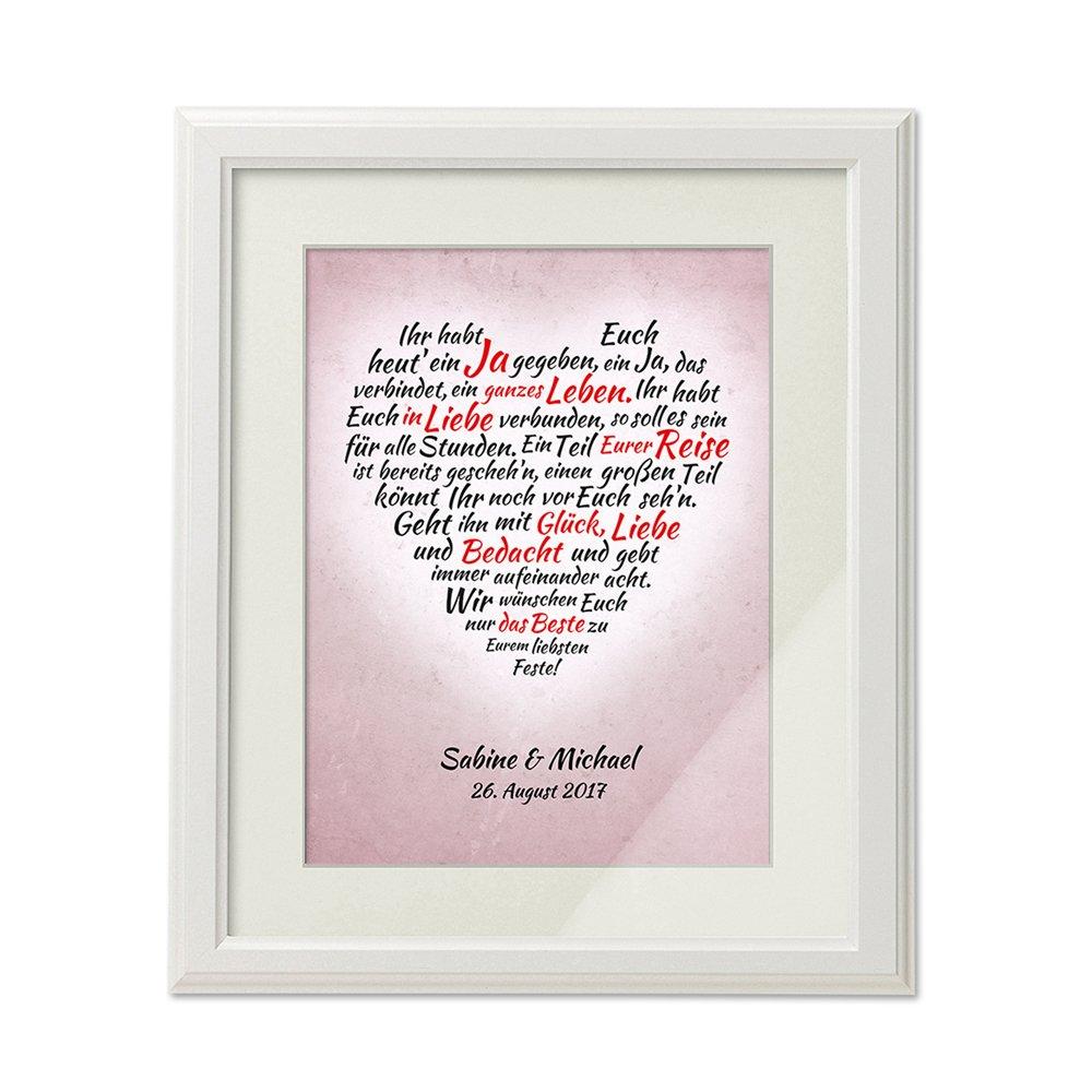 Bild – Herz aus Worten zur Hochzeit – Personalisiert mit Namen und Datum – Romantischer Druck im weißen Bilderrahmen – Geschenke für Brautpaare – Hochzeitsgeschenk – groß  45 x 55 cm