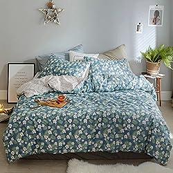OREISE Floral Duvet Cover Set Full/Queen Size 100% Cotton Blue Pink Green Printed Flower Pattern Reversible Design 3Piece Bedding Set (1 Duvet Cover + 2 Pillow Shams) Soft Breathable Durable