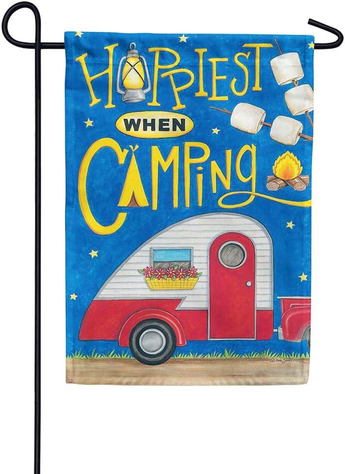 Custom Decor Garden Flag - Happiest When Camping