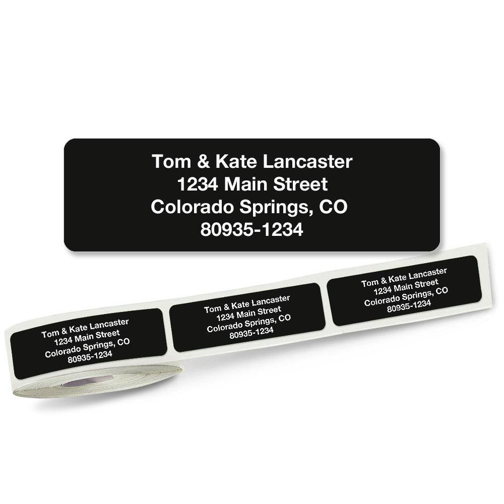 Solid Black Rolled Address Labels Roll of 250