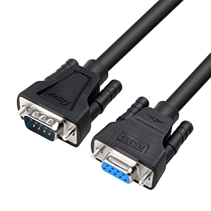 DTECH 5ft RS232 Serial Cable Extension Male to Female 9 Pin Straight Through 1.5m Negro cable de transmisión: Amazon.es: Industria, empresas y ciencia