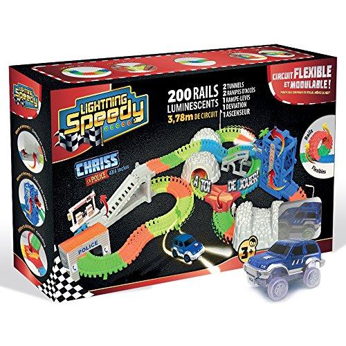 Lightning Speedy Coffret Police Circuit de voiture flexible, modulable et luminescent avec tous ses accessoires ultra fun - Vu à la TV