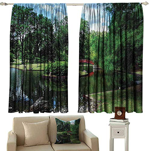 Japanese Decor Classical Curtain Lake with Red Bridge in Asian Gardens Trees Natural Paradise Theme Loneliness in Nature Privacy Protection 63