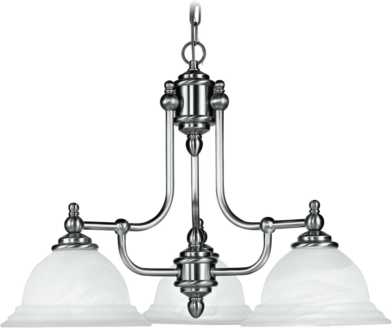 Livex Lighting 4253-91 North Port 3 Light Brushed Nickel Chandelier