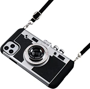 Emily in Paris Phone Case Compatible with iPhone 12 Pro Max 6.7 inch Awsaccy Camera Case Vintage Cover Cute 3D Cool Unique Design Silicone Case with Removable Neck Strap Lanyard for Girls Women Black