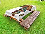 Lunarable African Outdoor Tablecloth, Africa Map with Countries Architectural Feature Popular Ancient Continent Artwork, Decorative Washable Picnic Table Cloth, 58 X 120 inches, Multicolor