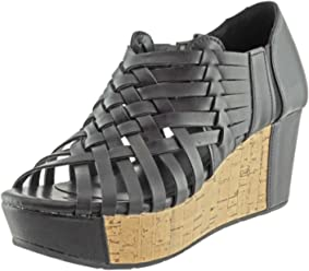 Pierre Dumas Womens Natural-1 Vegan Leather Criss Cross Strappy Wedge Platform Sandals