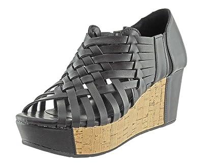 8eb826a20cb30 Pierre Dumas Women's Natural-1 Vegan Leather Criss Cross Strappy Wedge  Platform Sandals,Black