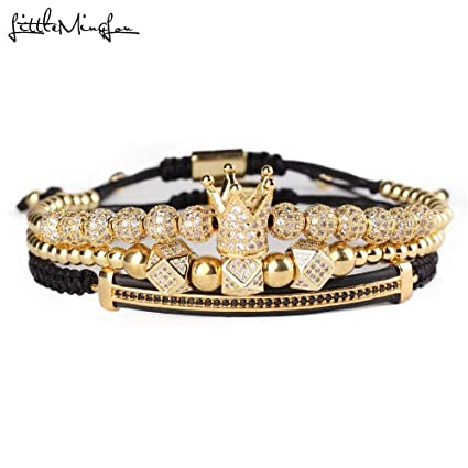 68a8ae2f0 TTO Charm Bracelets - 3pcs/Set Luxury CZ Polygon Ball Crown Charm Copper  Bead Macrame