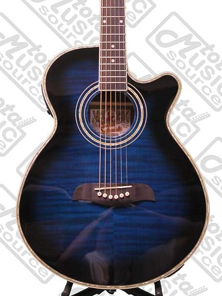 New Oscar Schmidt OG10CEFTBL Transparent Blue Acoustic Electric Guitar