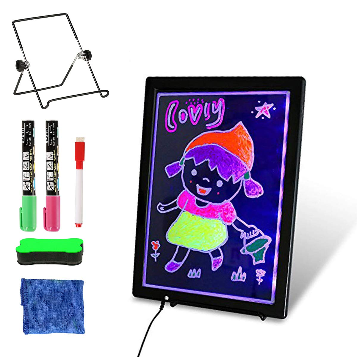 Slsy LED Writing Board USB, 12.8'' x 9.4'' Erasable Neon Illuminated Kids Drawing Board, Double Sided Message Board with 2 Fluorescent Markers for Kid Gifts, Home Note