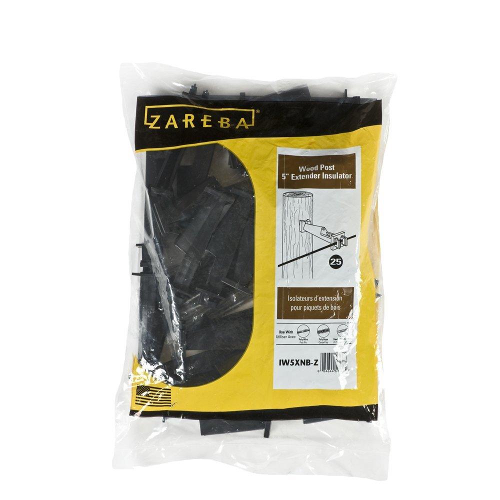 Zareba IW5XNB-Z Nail-on 5 Extender Insulator, 25 Per Bag, Black