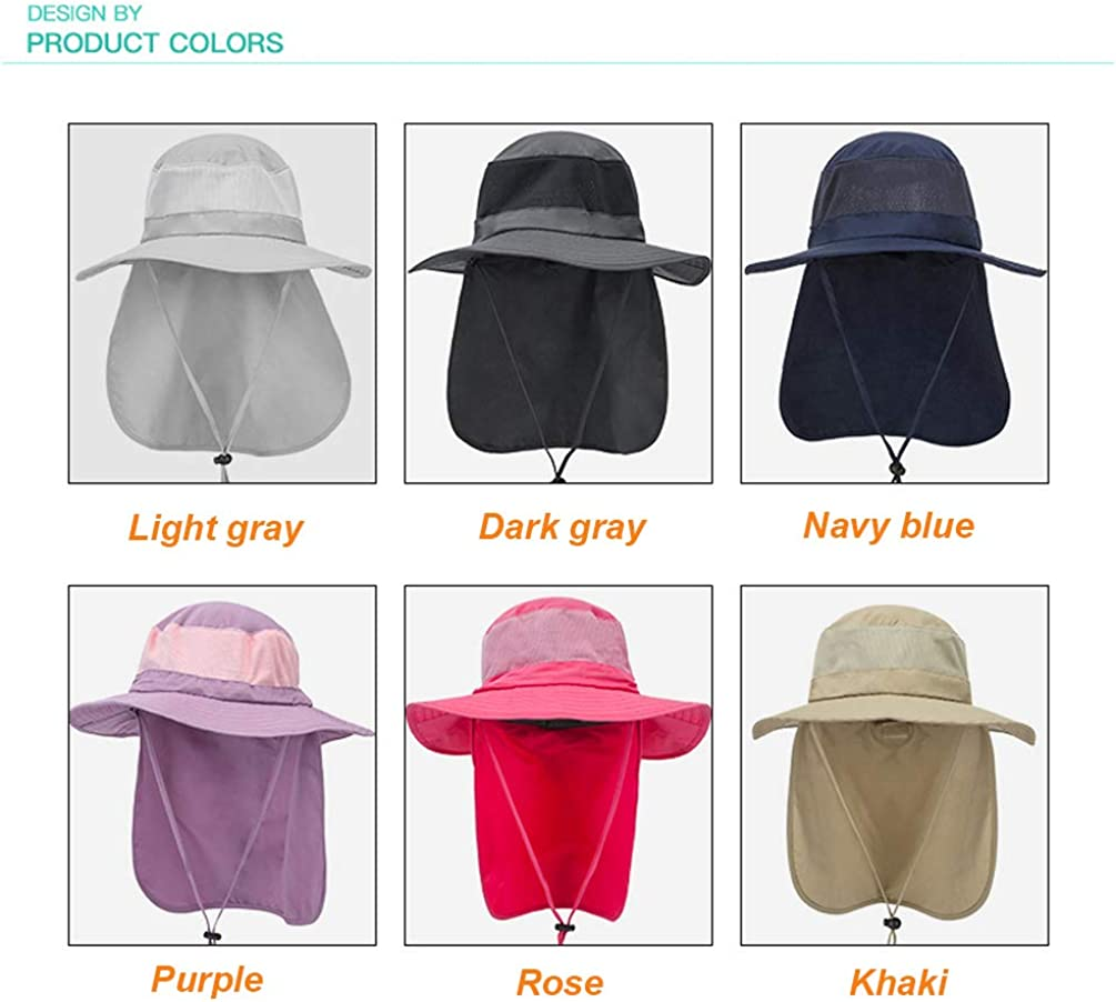 Unisex Outdoor Sun Hat Wide Brim Fishing Hat with Neck Flap LURY UPF50