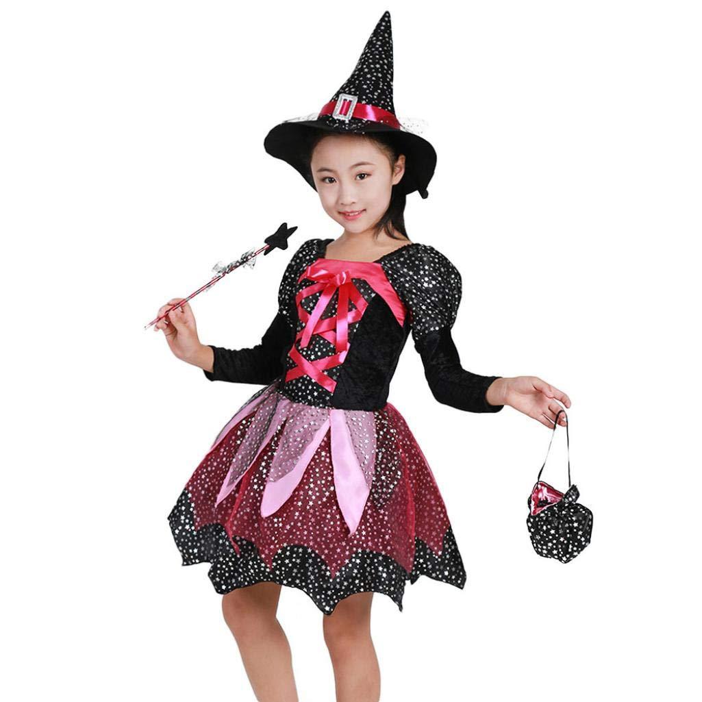 Halloween Costume, Longra 4 Pezzi Set Vestito + Cappello + Bacchetta Magica + Borsa, Halloween Bambini Ragazza Abiti Da Partito Vestito Da Costume Abbigliamento Outfits Strega Cosplay