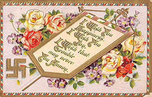 Well Wishes Good Luck Rose Flower Swastika Antique Postcard K103106