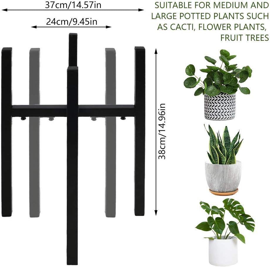 Negro JTWEB Soporte De Maceta De Plantas Expandible 24 A 37 Cm Portamacetas De Estilo Mediados Soportes Met/áLicos De Planta para Interior Decorativo