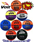 Voit 5'' Mini Rubber Inflatable Basketballs (Indoor/Outdoor) Gift Set Party Bundle - 3 Pack (Asssorted Colors) Balls Ship Deflated