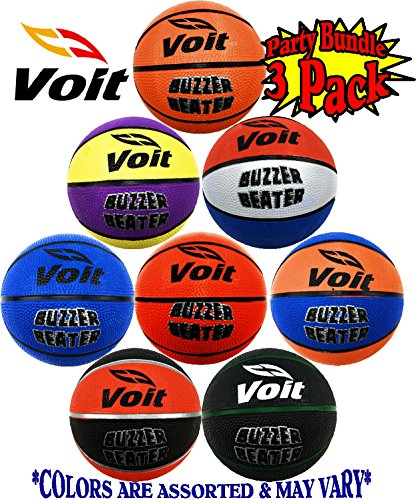 Voit 5'' Mini Rubber Inflatable Basketballs (Indoor/Outdoor) Gift Set Party Bundle - 3 Pack (Asssorted Colors) Balls Ship Deflated by Voit
