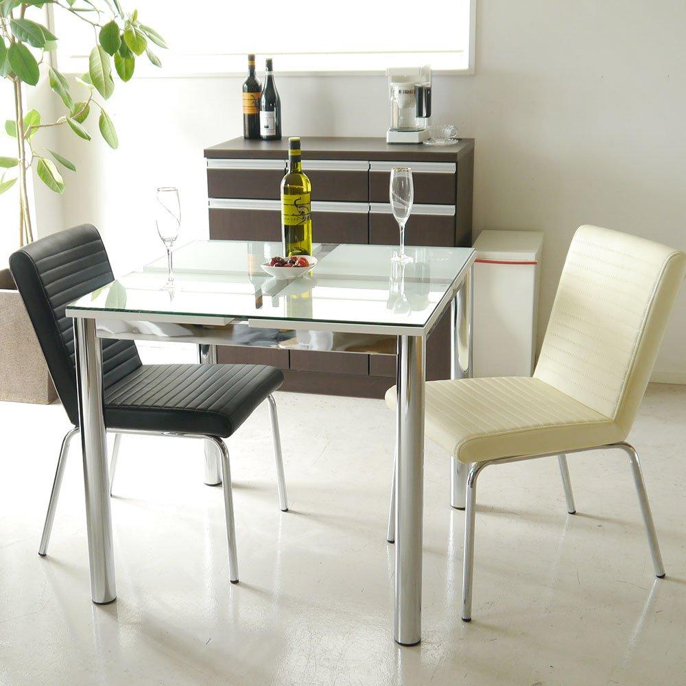 東馬 ダイニングテーブルセット 3点セット N-フレスコ80ダイニングテーブル/Y-802チェア2脚(ホワイト) B01D2U7QVU