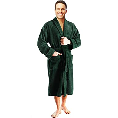 fa8bc349af Star and Stripes Bottle Green Terry Towel 100% Cotton Bathrobes in S M   Amazon.co.uk  Clothing