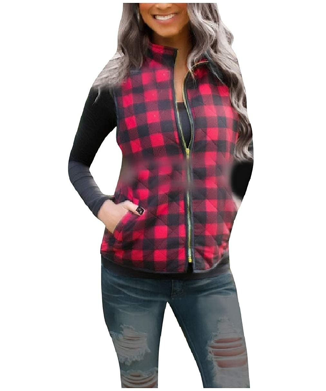 Coolhere Womens Parka Jacket Vest Quilted Plaid Zipper Closure Outerwear