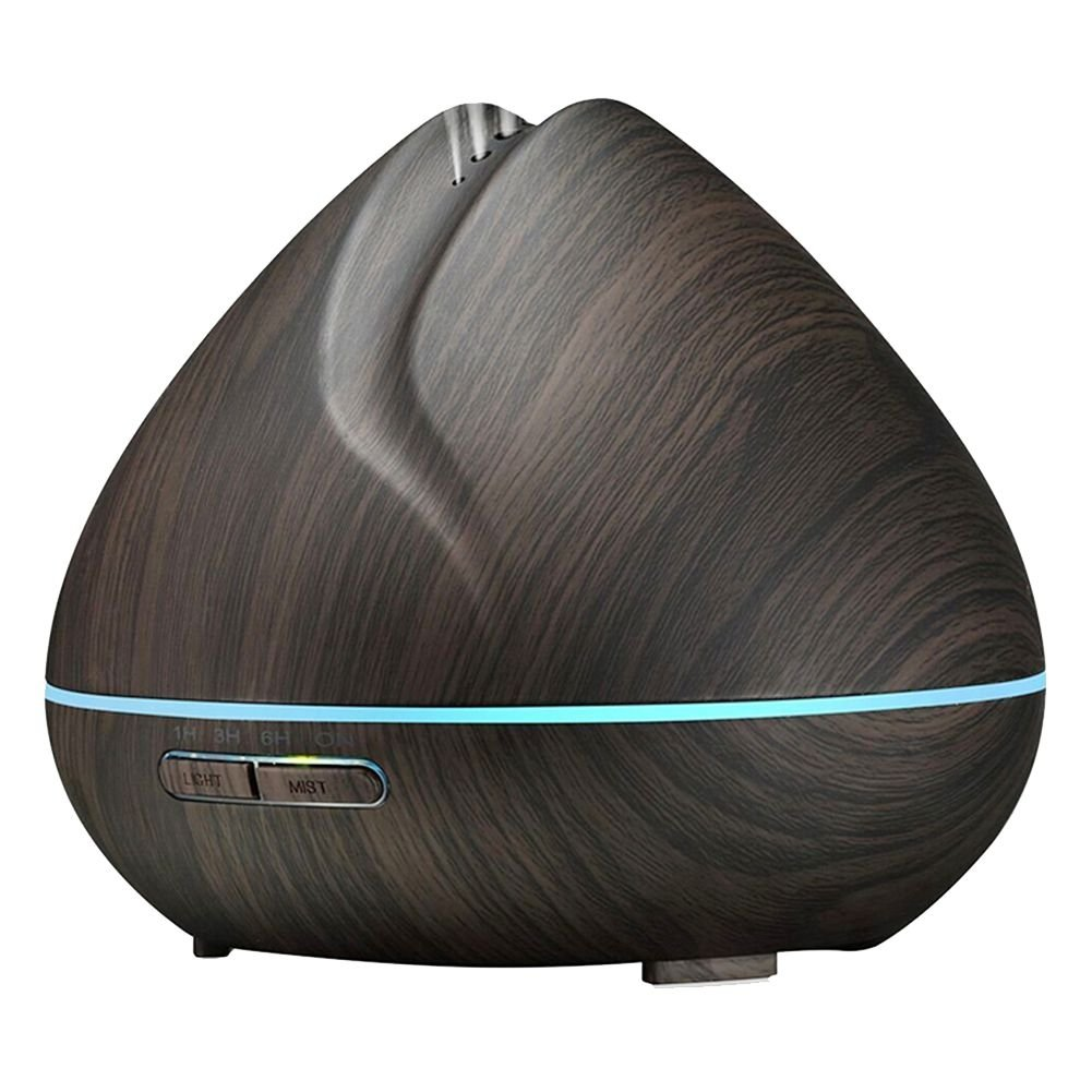 SODIAL 400ml Aroma ESSential Oil Diffuser Ultrasonic Air Humidifier with Wood Grain 7 Color Changing LED Lights for Office Home Bedroom(US Plug):Dark Wood