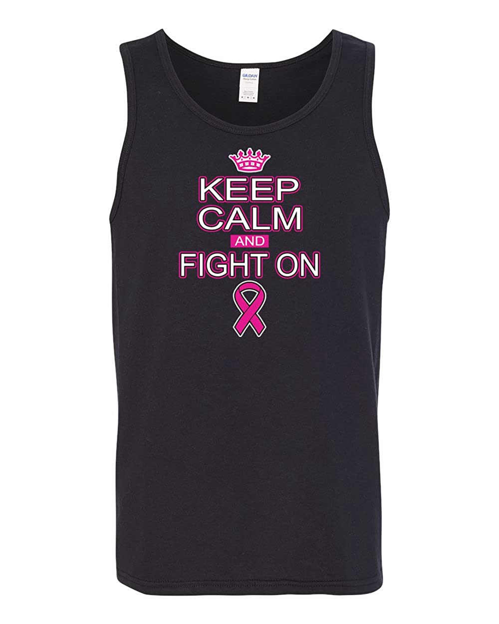 Keep Calm and Fight On Mens Breast Cancer Awareness Fashion Graphic Tank Top