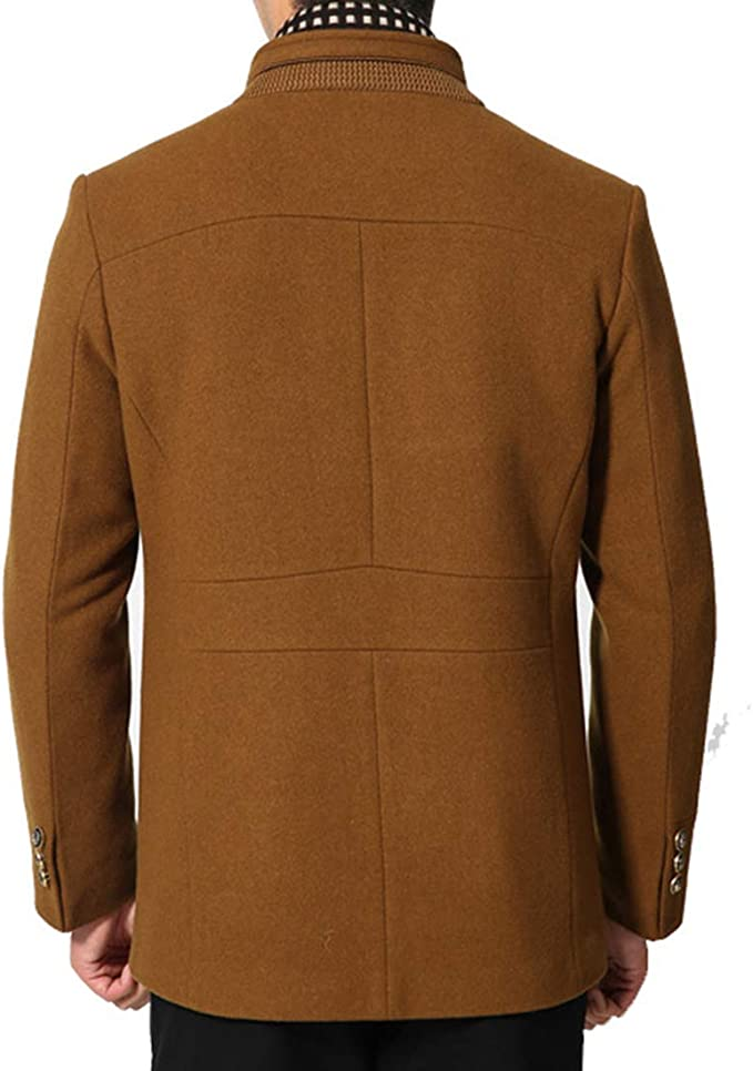 Mens Wool Blend Coat Single Breasted Trench Coat Winter Warm Pea Coats Woolen Jackets with Detachable Scarf