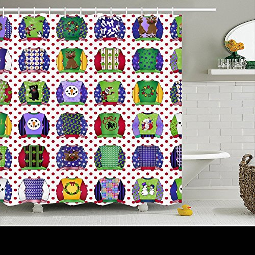Family Unique Decorative Custom Xmas Shower Curtains Ugly Christmas Sweaters Waterproof Polyester Fabric Home Decor Bath Curtain Decor Bathroom Design Decorations 60 By 72 Inches (Ugly Shower Curtain)