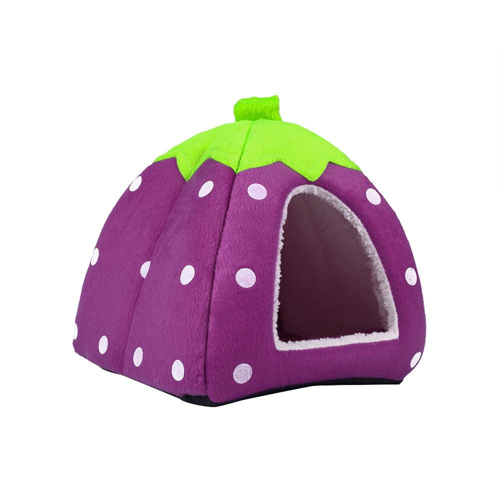 Spring Fever Strawberry Guinea Pigs Fleece House Rabbit Cat Pet Small Animal Bed Purple XL (18.918.90.8 inch) by Spring Fever (Image #4)