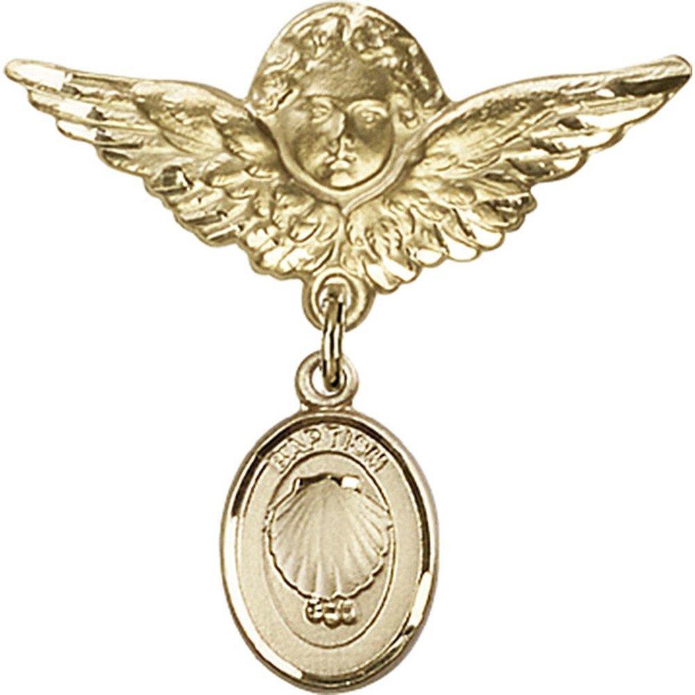 ゴールドFilled Babyバッジwith洗礼チャームとエンジェルW / Wingsバッジピン1 1 / 8 x 1 1 / 8インチ   B00PQ810ZK