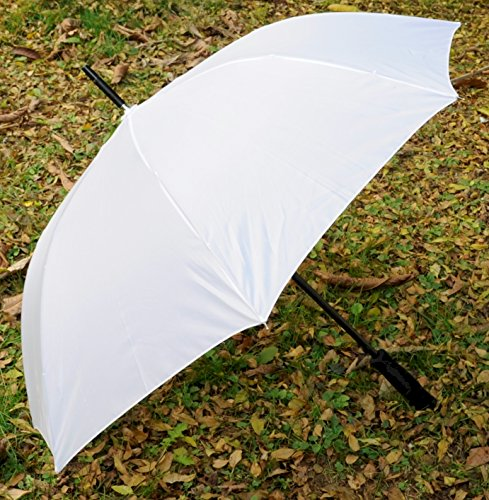 Barton Outdoors Elegant 60'' Solid White Umbrella With Black Accents