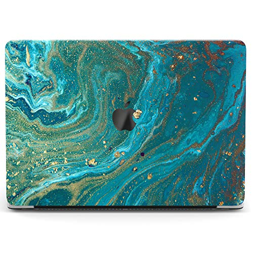 Wonder Wild Case for MacBook Air 13 inch Pro 15 2019 2018 Retina 12 11 Apple Hard Mac Protective Cover Touch Bar 2017 2016 2015 Plastic Laptop Print Abstract Wave Gold Blue Oil Green Water Marbling