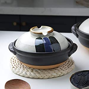 ZZFF Japanese Colorful Donabe Ceramic Hot Pot,Heat Resistant Casserole with Lid,Small Round Earthenware Clay Pot,Rice Cooker for Stew Soup Noodles A 1l