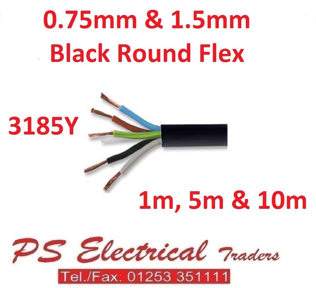 1.5MM 5 CORE FLEX 3185Y BLACK ROUND VARIOUS LENGTHS 1M 10M 0.75MM 5M