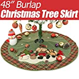 Christmas Tree Skirt by Yoland 48'' Burlap Plaid Green Cotton Ornaments Decorations Including Santa Snowman and Reindeer 3D Doll