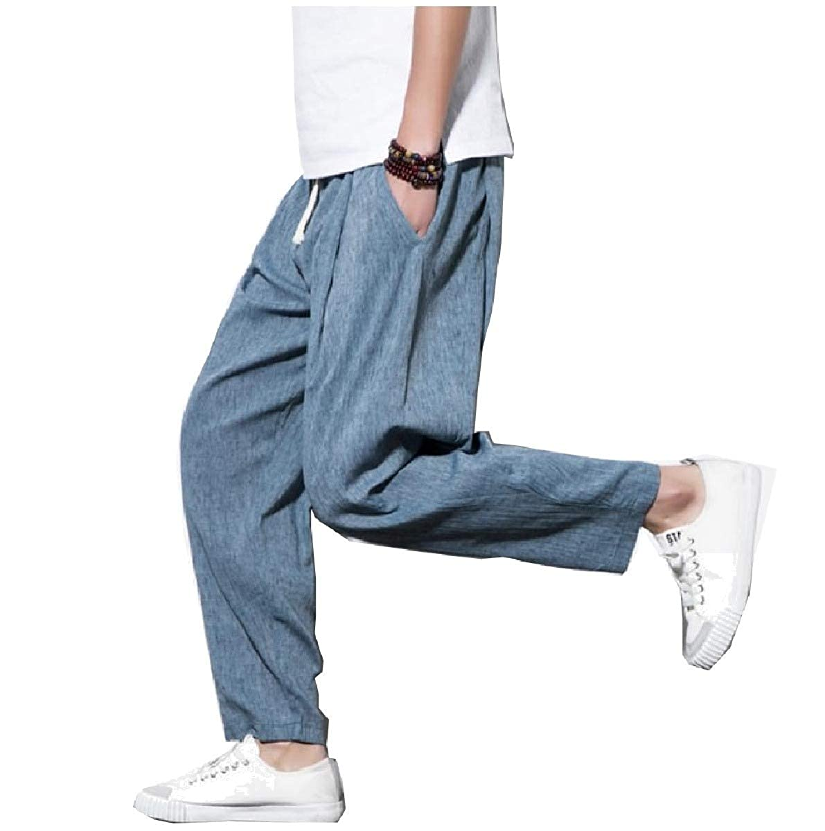 Abetteric Mens Cotton Trousers Beach Holiday Chinese Style Big and Tall Tenths Pants