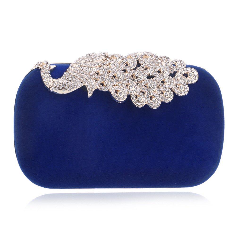 Mesh Rhinestone Peacock Hard Box Evening Bag Wedding Cocktail Clutch Purse Blue
