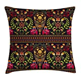 Indian Throw Pillow Cushion Cover by Ambesonne, Traditional Pattern Colorful Paisley Border Floral Details Elephants Tribal Artwork, Decorative Square Accent Pillow Case, 24 X 24 Inches, Multicolor