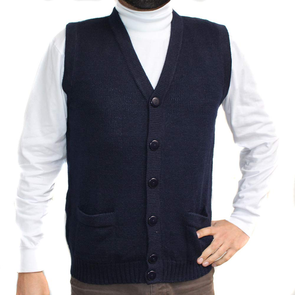 CELITAS DESIGN Vest Alpaca and Blend V Neck Buttons Jersey Made in Peru Buttons and Pockets Navy Blue XL