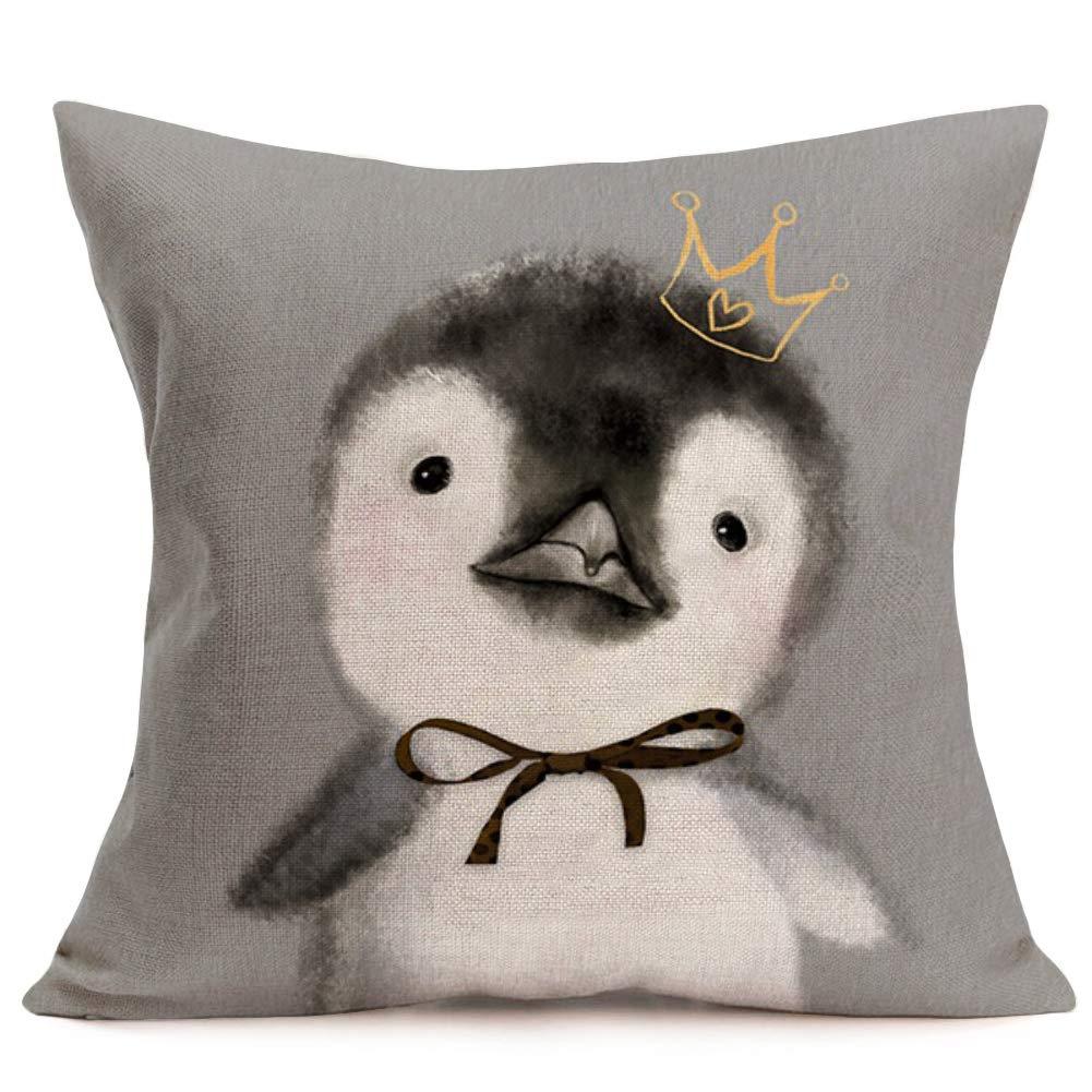 Fukeen Penguin Queen Wearing Crown Throw Pillow Case Cotton Linen 18 x 18 Inch Standard Cushion Cover for Home Sofa Decor Cute Animal Pillowcase