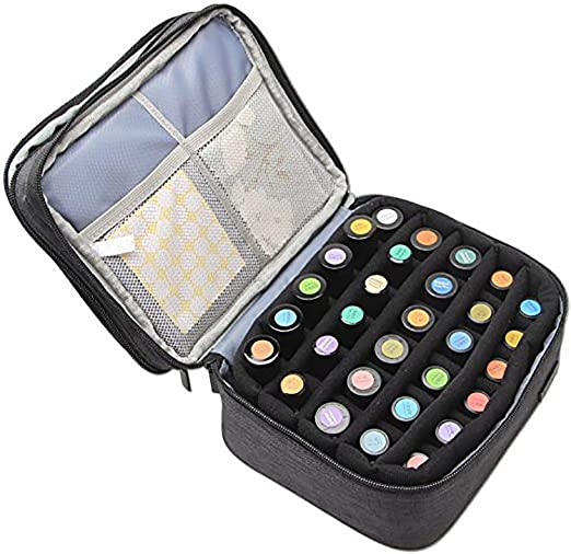 Amazon Com Nail Polish Carrying Case Nail Varnish Holder Holds 30 Bottles 5ml 30ml Double Layer Essential Oil Bag For Nail Polish And Manicure Tools Black Beauty