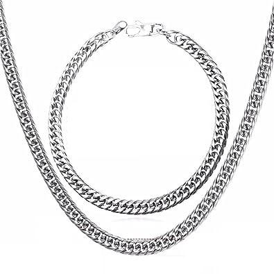 893ffaf7316c EuroLux Cadenas De Oro Plata Men para Hombres Laminada Necklace   Bracelet  Set Men Jewelry