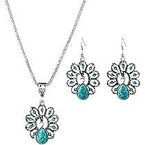 c043fceadc65 ... Mujer Cristal · Hosaire 2 Set - Pendientes y Collar de Retro hueco  turquesa pavo real del diamante Moda