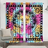 Indian Celestial Sun & Moon Star Mandala Curtain, Tapestry Mandala Door Curtains, Boho Decor, Drape Panel Sheer Scarf Valances 84 x 80 Inch Approx