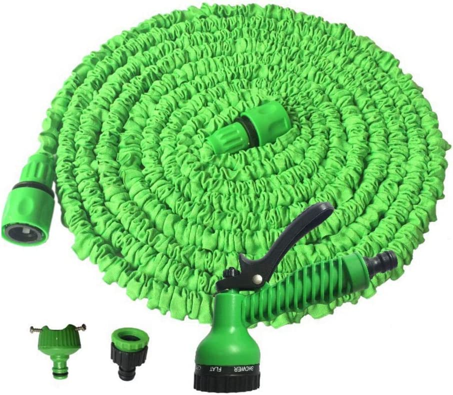 Extended garden hose, 3 times retractable light water hose, with 7 function car Sprinklers, for car washing, garden watering, window cleaning For courtyard gardens Green 100FT