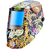 Antra AH7-X30P-6404 Digital Controlled Solar Powered Auto Darkening Welding Helmet Wide Shade 4/5-8/9-13 with Grinding Feature Extra Lens Covers Great for TIG, MIG, MMA, Plasma