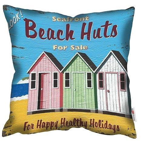 WELOVECUSHIONS para la Venta de casetas de Playa - Martin Wiscombe - Art cojín: Amazon.es: Hogar